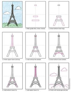 to Draw the Eiffel Tower · Art Projects for Kids Draw the Eiffel Tower. by Art Projects for KidsDraw the Eiffel Tower. by Art Projects for Kids Eiffel Tower Painting, Eiffel Tower Art, Eiffel Tower Drawing Easy, Eiffle Tower Drawing, Eiffel Tower Nails, Eiffel Towers, Drawing Lessons, Art Lessons, Art Drawings Sketches