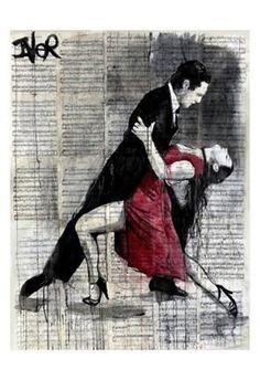 Midnight Tango Poster Print by Loui Jover Dance Art Modern Tango Performing Arts