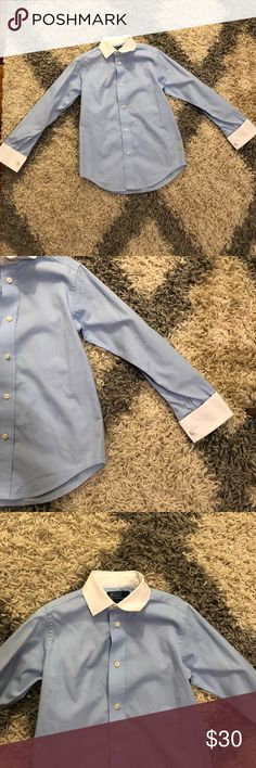 Polo Ralph Lauren Blue Button Down White Cuffs Polo Ralph Lauren Boys Button Down Dress Shirt. Light Blue Oxford Shirt with white cuffs and collar. Size 6. 100% cotton. Perfect condition. Polo by Ralph Lauren Shirts & Tops Button Down Shirts