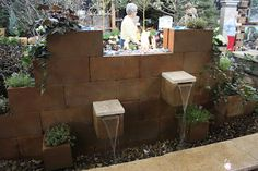 Garden Thyme with the Creative Gardener: More Great Water Features for the Garden. Beautiful fountain using cinder blocks!