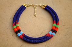 20% off Double rope necklaceBlue African beaded by akwaabaAfrica