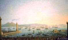Antonio Joli (1700 - 1777) Arrival of Charles III in Naples.