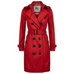 Burberry The Sandringham Long Cashmere Trench Coat ($2,370) ❤ liked on Polyvore featuring outerwear, coats, red coat, slim long coat, slim coat, red trenchcoat and burberry trenchcoat