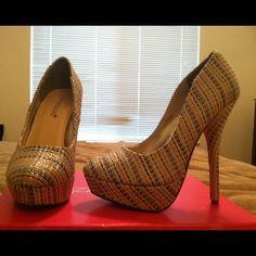 Heels Tan Multi, 5 inch heel Shoe Dazzle Shoes Heels