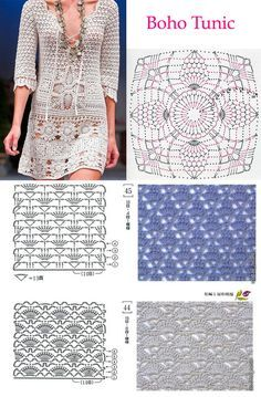 Crochet dress PATTERN, crochet TUTORIAL for every row (charts included), V-neck sexy crochet dress pattern, designer dress crochet pattern.Combine motifs to create a unique crochet design.FREE Everyday Ribbed Crochet Hat Pattern via Easy ribbed patte Débardeurs Au Crochet, Crochet Motifs, Crochet Woman, Crochet Patterns, Crochet Stitch, Crochet Tunic Pattern, Crochet Designs, Doll Patterns, Black Crochet Dress