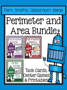 Area Arnie, Perimeter Pete and Perimeter Penny all in one Bundle! Perimeter and Area Mega Math Pack Bundle - Printables, Center Game and Task Cards for 3.MD.D.8 #TPT $Paid
