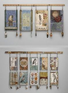 Mixed media wall hangings by textile artist Sharon McCartney (these images no lo. Mixed media wall hangings by textile artist Sharon McCartney (these images no longer on her website)Embroidered & Collaged Fiber Constructions, Mixed Media Collage Paintings Fabric Art, Fabric Crafts, Fabric Books, Assemblage Art, Tapestry Wall Hanging, Fabric Wall Hangings, Hanging Fabric, Hanging Beads, Hanging Art