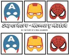 Superhero memory match. FREE Printable. This is a great idea for the kids. kids activities. thediaryofarealhousewife.com