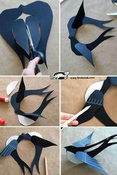 Oiseau en papier pour mobile