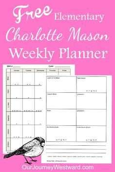 Elementary Charlotte Mason Planner-- Our Journey Westward ~~FREE