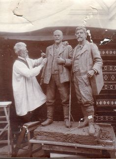 Laurits models double statue of Michael Ancher and Peder Severin Kroyer in his studio in Villa Dagminne.Ancher and Kroyer are the embodiment of the 'Skagen Painters'.The statue stands today in bronze in front of the Skagen Museum.