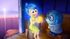 "Joy and Sadness (voiced by Amy Poehler and Phyllis Smith) in the new Pixar movie ""Inside Out"" How many ideas can the folks at Pixar h. Disney Inside Out, Film Inside Out, Inside Out Review, Joy Inside Out, Film Pixar, Pixar Movies, New Movies, Disney Movies, Disney Stuff"