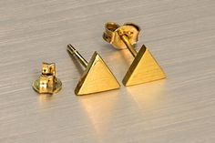 Triangle earrings Gold triangle 925 sterling silver Geometric studs Mothers Friend, Triangle Earrings, Fashion 2015, Handmade Sterling Silver, Earring Backs, Sell On Etsy, Stone Pendants, Shopping Mall, Etsy Handmade