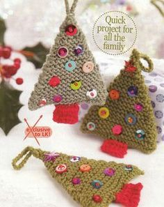 These little Christmas tree decorations could be made up in any double knitting weight yarn and are an ideal project for using up small scraps. The trees are double-sided, with craft foam between the two layers, to help retain the triangular shape and give them a bit more substance. Decorate with little buttons, beads and sequins and add a loop for hanging.