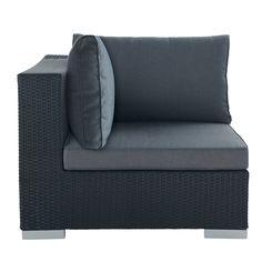 Angolo nero di divano da giardino in resina intrecciata Antibes