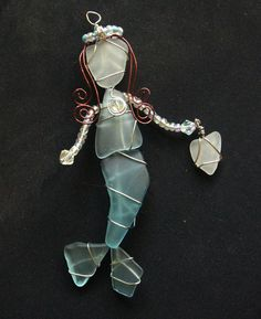 Aqua Blue Sea Glass Mermaid Ornament or Suncatcher by oceansbounty, $25.00
