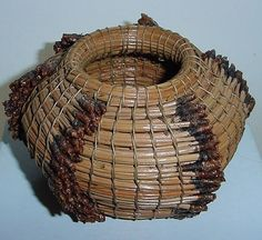 SMALL Finely Hand Woven PINE NEEDLES Organic BASKET Intricate SPECIAL TREASURE
