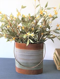 Farmhouse decor Metal Oval Bucket With Handle comes with Flowers Painted | eBay