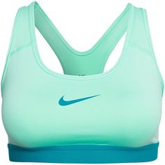 Nike Pro Classic Bra ($37) ❤ liked on Polyvore featuring activewear, sports bras, tops, sport, sportswear, green, sports fashion, womens-fashion, nike and nike activewear