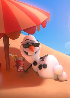 Olaf u have the life in this pic I wish it was summer and I can hang at the beach with u Olaf
