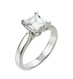 High Polish 925 Sterling Silver PrincessCut FourProng Solitaire CZ Engagement Ring Size 7 ** You can find more details by visiting the image link.