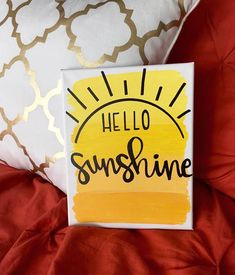 "Hello Sunshine Canvas painting is part of pencil-drawings - Hello sunshine"" This sweet canvas comes in multiple sizes, and its the perfect house warming gift! Simple Canvas Paintings, Easy Canvas Painting, Cute Paintings, Summer Painting, College Canvas Paintings, Canvas Painting Quotes, Dorm Paintings, Sign Painting, Indian Paintings"