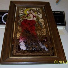 Rare Series of four 4 LARGE mirrors with press of Alphonse Mucha Four Seasons #ArtNouveau