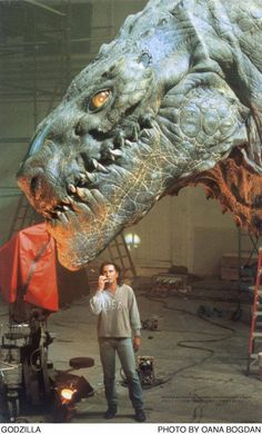 A Rare Behind the Scenes Photo Featuring The Giant Godzilla Prop used in a few Brief Scenes in Godzilla [1998] Sony/Tristar Pictures corp.