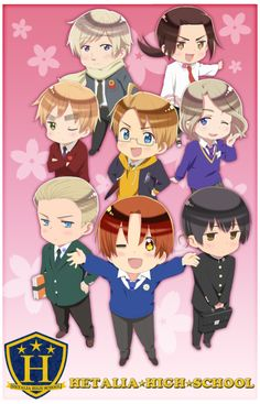 """hetaliaarchives:In honor of April Fool's Day, the website for the upcoming Hetalia: The World Twinkle has updated with a banner for a """"Hetalia☆High☆School,"""" with tweets discussing an entrance ceremony and urging fans to enjoy watching their lively daily lives.All information regarding this indicates that it is intended as a holiday image and is not reflective of future events in the series."""