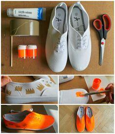 14 DIY Sneakers Ideas-DIY Sneakers – From Plain White to Neon Orange in 3 Steps