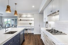 The kitchen is actually in a new home, designed for a young couple and their new baby who wanted a stunning yet homely feel to the room. The panelled cabinetry,. White Subway Tiles, Colour Schemes, Classic Style, New Baby Products, New Homes, Kitchen Cabinets, Interior, Modern, House