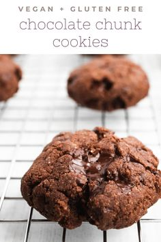 These chickpea flour cookies are sweet and chocolaty, but secretly good for you. They're vegan and gluten free, made with only 10 ingredients and 15 minutes of prep time. #vegan #glutenfree #cookies Easy Vegan Cookies, Gluten Free Cookies, Gluten Free Desserts, Vegan Desserts, Gluten Free Chocolate, Chocolate Recipes, Cookie Recipes, Snack Recipes, Vegan Recipes