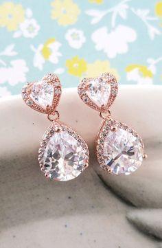 Rose Gold Teardrop   Cubic Zirconia Heart Earring