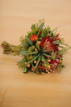 Eco Friendly Rustic Burgundy Green Red Yellow Bouquet Fall Garden Wedding Flowers Photos & Pictures - WeddingWire.com