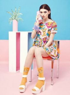 "Extra Inspiration fun pattern in this photo gives that playful, childlike feel that fits perfectly in the ""Soft Pop"" aesthetic. Quirky Fashion, Colorful Fashion, Cute Fashion, Fashion Beauty, Kids Fashion, Fashion Outfits, Fashion Trends, Fashion 2018, Fashion Fashion"