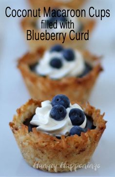 Coconut Macaroon Cups with Fresh Blueberry Curd | HungryHappenings.com
