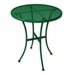Mesa redonda verde de acero para terraza Bolero 600mm