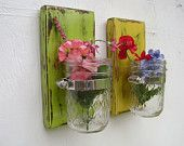 Bathroom decor shabby chic wood vase sconce mason jar  french house country decor shabby chic SET of TWO
