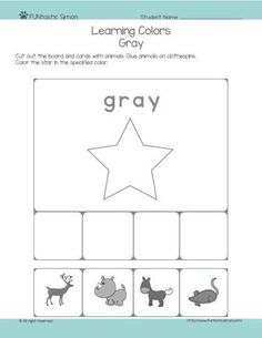 Teaching colors to preschoolers can be a fun and dynamic activity. This worksheet covers gray color. Download, print it and have fun time with your child!