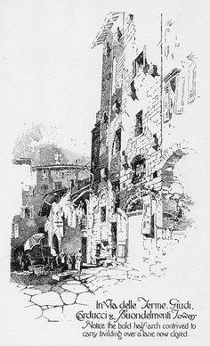 "The Thrifters' Compendium: Herbert Railton-- ""Pen Drawings of Florence"" Landscape Drawings, Architecture Drawings, Ink Pen Drawings, Drawing Sketches, Building Sketch, Urban Sketching, Pen Art, Environmental Art, Art Sketchbook"