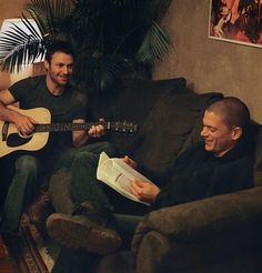 Chris Vance with a guitar. Be still my beating heart. ♥