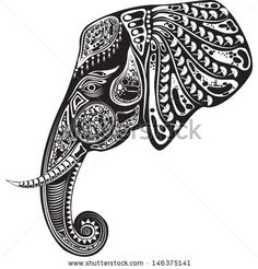 Vector illustration of a tribal totem animal - Elephant - in graphic style by soosh, via Shutterstock