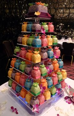 Wedding Cake/Cupcakes, this is almost exactly what I want!! Just not all these colours lol @Maria Canavello Mrasek Khan