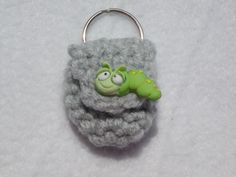 Crochet keychain Coin Cozy, coin holder, coin pouch, mini purse, coin purse, ring holder- grey with green worm button by honeybee69 on Etsy