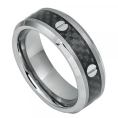 Men's Tungsten Carbide Wedding Band Ring Black Carbon Fiber Inlay and Srew Accents