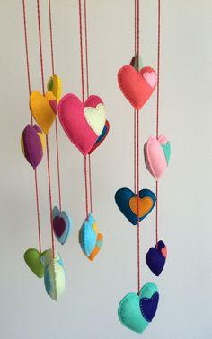 Rainbow Felt Heart Mobile Handmade by CraftCorner15 on Etsy