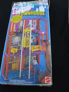 1975 Box Script Logo - Mod Barbie 3 - Story Townhouse Town House No. 7825 with Blue and Pink Masonite Floors - Script Logo on Box Mattel elevator furniture box no instructions | eBay