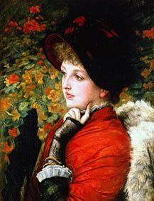 James Jacques Tissot - Bildnis der Kathleen Newton in rotem Kleid.