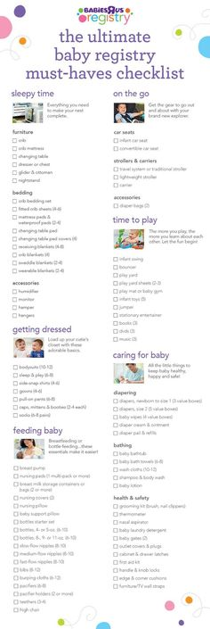 Nothing is too big or too small to add to your registry. From sleepytime and getting dressed to feeding, playing and everything in between, little babies need a lot! Our handy must-have registry checklist will help you get started. Ready to create your baby registry?