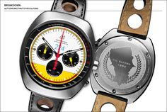 "Autpdromo Prototipo watch - tribute to Vic Elford who is known for a number of victories representing Porsche. In 1968 he won the Targa Florio in Sicily. This watch celebrates that victory with a white and yellow dial recalling the paint scheme of Elford's winning Porsche 907. It is also marked in blue with ""224,"" the car's number, at 12 o'clock. The caseback is also marked with a map of the Targa Florio circuit and some of Elford's lap records."